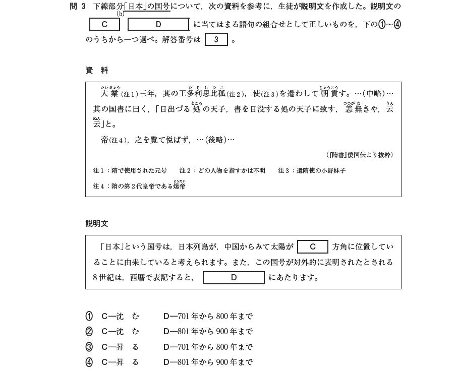 (平成28年度第一回日本史Bより)