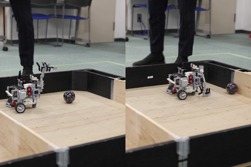 ボールの配置場所は1回1回変わります。ボールを探知できても、正確に掴むのは至難の業です
